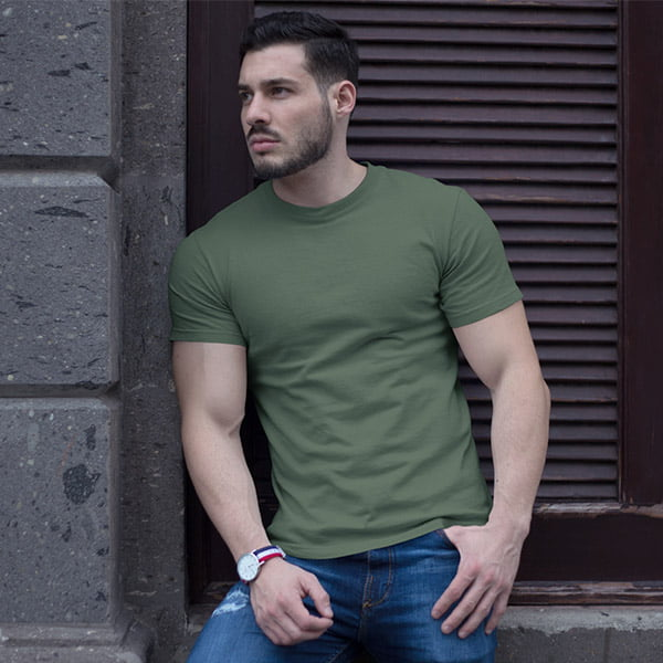 Olive Plain Tshirt Men by My Style Bag