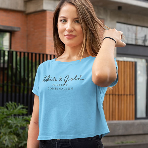 Sky Blue White and Gold Design Crop Top for Women